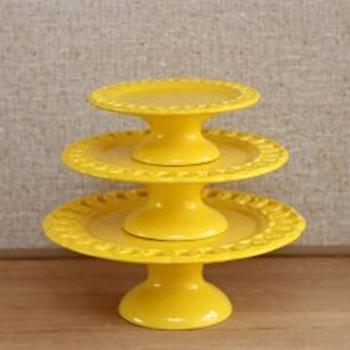 Aluguel Trio de Porcelana Elos Amarelo 1