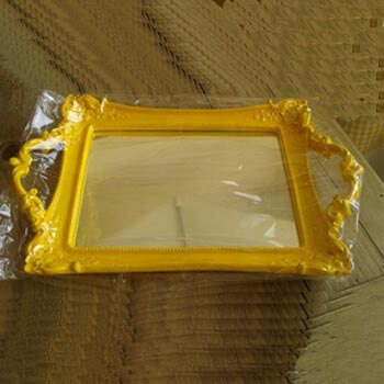 bandeja de resina espelhada amarela