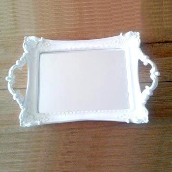 Aluguel Bandeja de Resina Espelhada Branca 1